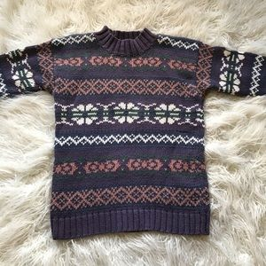 VINTAGE 1990'S FAIR ISLE THICK KNIT MOM SWEATER